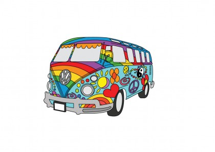 Painted VW Hippy Van Design